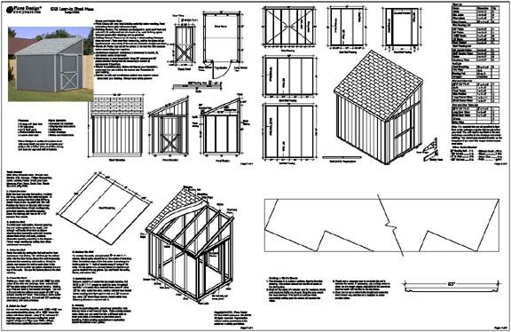 6 X 8 Slant Lean To Style Shed Plans Building Blueprints