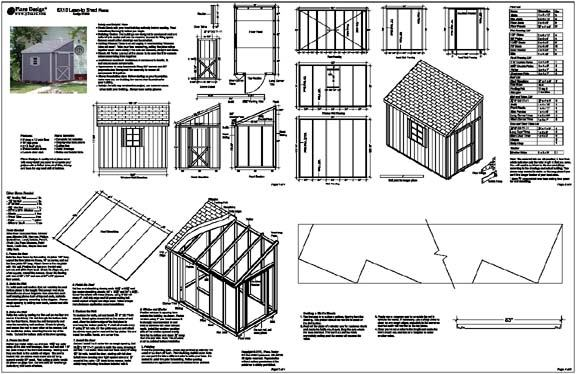 6 X 10 Slant Lean To Style Shed Plans Building Blueprints