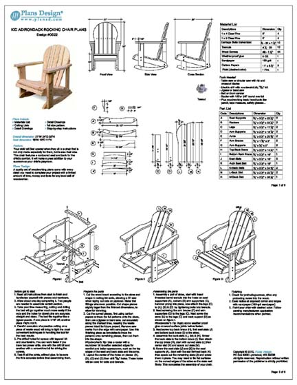 Kid Adirondack Rocking Chair Woodworking Project Plans Trace And