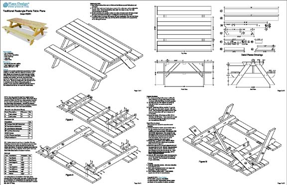 picnic table traditional rectangle garden style  woodworking plans  odf01 753182758831