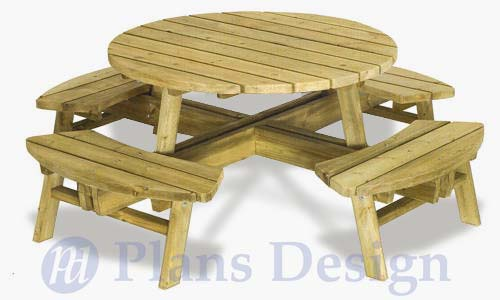 traditional round picnic table with benches out door furniture plans