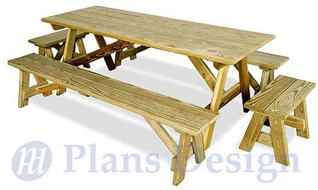 Classic Rectangle Picnic Table With Benches Woodworking Plans Design Odf12 753182758879 Ebay