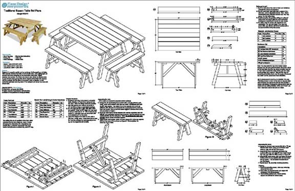 Classic square picnic table woodworking plans pattern odf11 753182758992 ccuart Choice Image