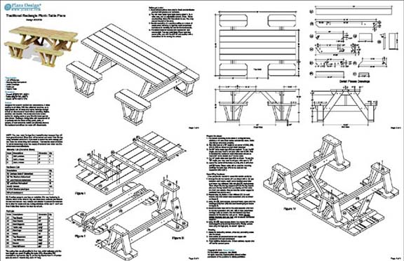 Traditional Rectangle Picnic Table Bench Out Door