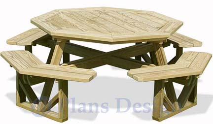 How To Build The Octagon Picnic Table, Design # ODF07