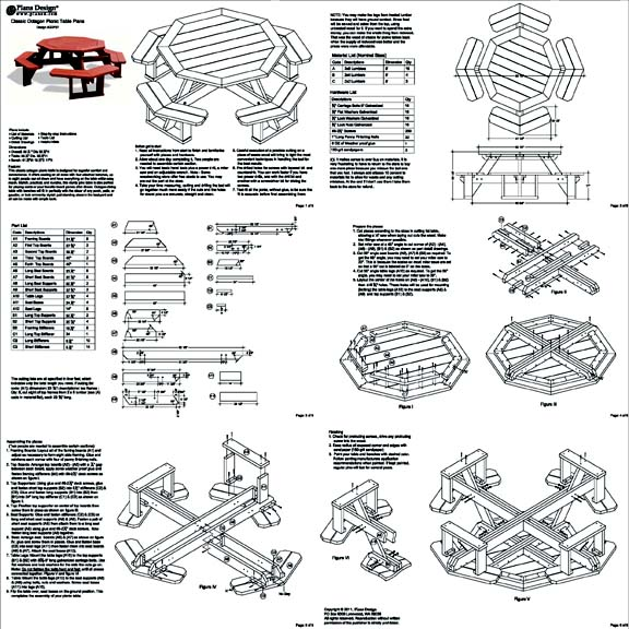 Classic octagon picnic table woodworking plans blueprints odf08 how to build the octagon picnic table design odf08 watchthetrailerfo